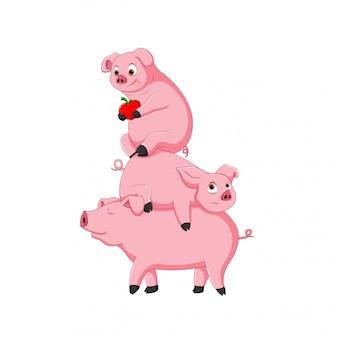 Śliczna kreskówka świnia
