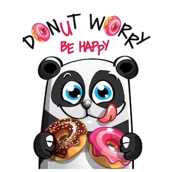Śliczna kreskówka szczęśliwa zabawa panda z pączkami. kartka z życzeniami, pocztówka. nie martw się, bądź szczęśliwy.
