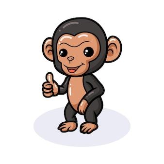 Śliczna kreskówka szympansa daje kciuk w górę