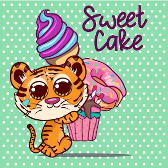Śliczna kreskówka tygrys ze słodkim ciastem i lodami. wektor