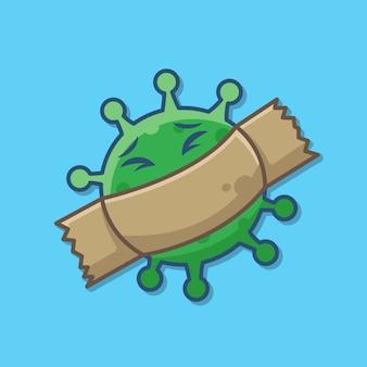 Śliczna kreskówka wirusa koronowego z taśmą. zatrzymaj wirusa