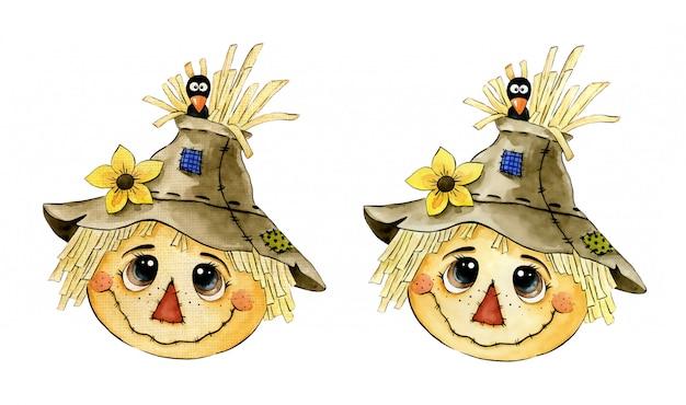 Śliczna kreskówki akwareli strach na wróble twarz z wroną i słonecznikiem na białym tle