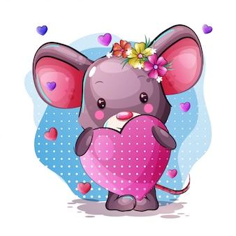 Śliczna kreskówki dziecka mysz z sercem