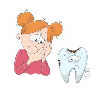 Śliczna kreskówki dziewczyna i zły ząb.