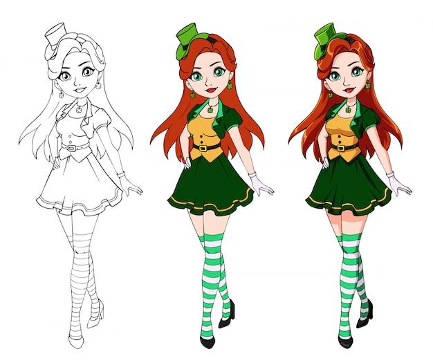 Śliczna kreskówki dziewczyna jest ubranym st. patrick dnia kostium.