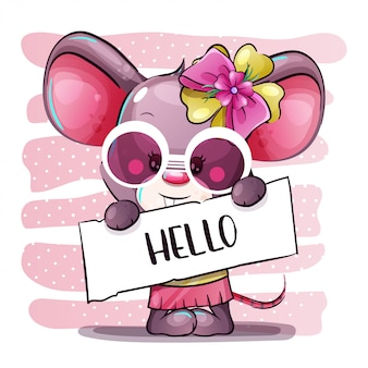 Śliczna kreskówki dziewczyny dziecka mysz. ręcznie rysować kreskówki