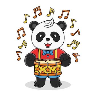 Śliczna kreskówki panda bawić się bęben