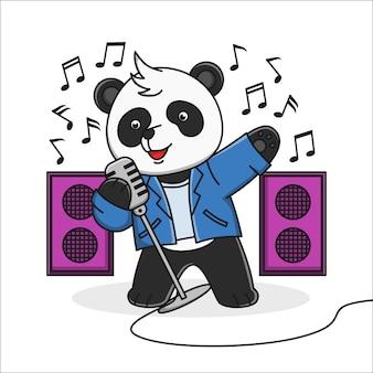 Śliczna kreskówki panda śpiewa ilustracyjnego projekt