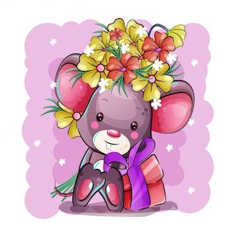 Śliczna kreskówkowa mysz z kwiatami i prezentem