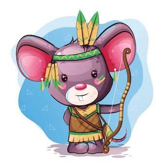 Śliczna kreskówkowa mysz z piórkami