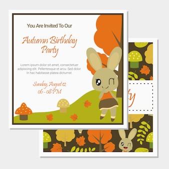Śliczna królik dziewczyna na jesień sezonie dla urodzinowej karty