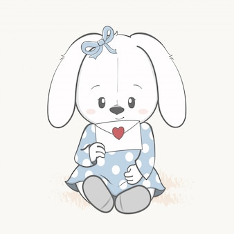 Śliczna królik dziewczyna z list miłosny kreskówki ręką rysującą
