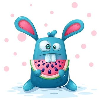 Śliczna królik ilustracja z arbuzem.