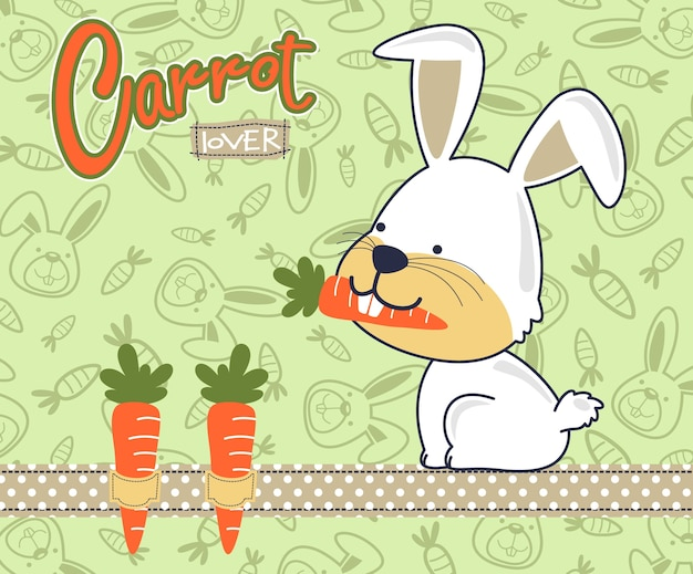 Śliczna królik kreskówka z marchewkami