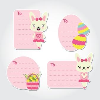 Śliczna królika dziewczyna, kwiat i kolorowa jajeczna wektorowa kreskówki ilustracja dla wielkanocnych prezentów etykietek