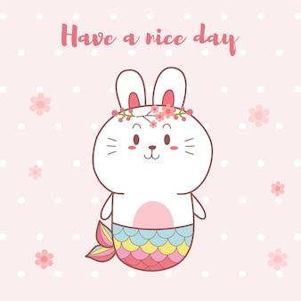 Śliczna królika syrenki kawaii kreskówka wręcza patroszonego