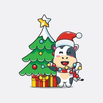Śliczna krowa chce naprawić bożonarodzeniowe światło śliczna świąteczna ilustracja kreskówka