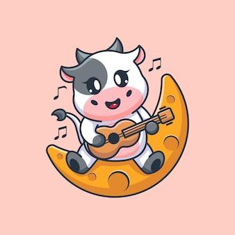 Śliczna krowa gra na gitarze na księżycu