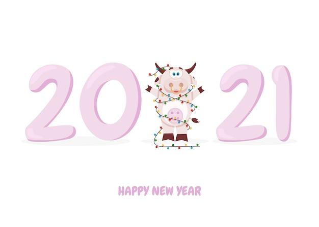 Śliczna krowa i szczęśliwego nowego roku
