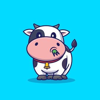 Śliczna krowa je trawy kreskówki ikony ilustrację. koncepcja ikona zwierzę na białym tle. płaski styl kreskówek