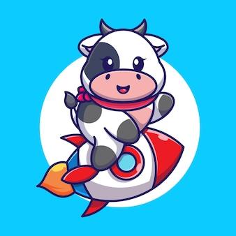 Śliczna krowa jeżdżąca rakieta kreskówka
