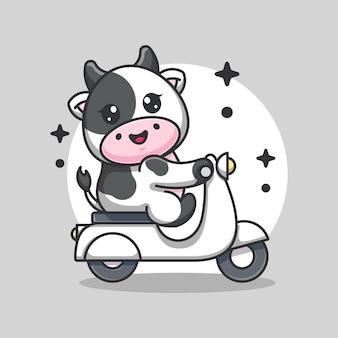 Śliczna krowa jeżdżąca skuter kreskówka