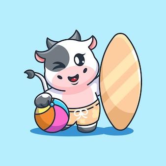 Śliczna krowa lato ikona ilustracja