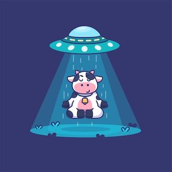 Śliczna krowa medytująca, podczas gdy ufo podejmuje to