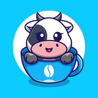 Śliczna krowa na filiżance kawy kreskówka