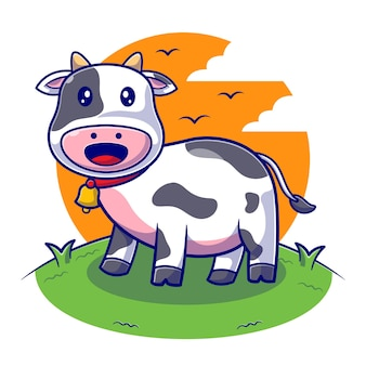 Śliczna krowa na płaskiej ilustracji gospodarstwa