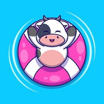 Śliczna krowa pływająca z kreskówki pierścienia pływackiego