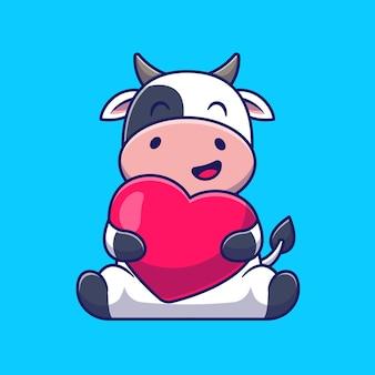 Śliczna krowa przytulić miłość serce kreskówka ikona ilustracja.