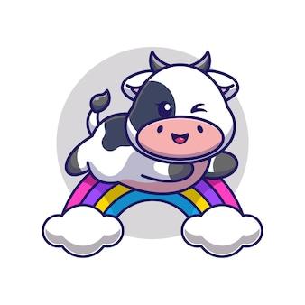 Śliczna krowa skacząca z tęczy kreskówki