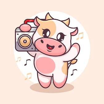 Śliczna krowa słuchająca muzyki z kreskówką boombox
