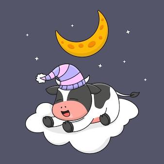 Śliczna krowa śpi na chmurze