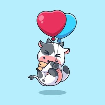 Śliczna krowa unosząca się z balonową kreskówką