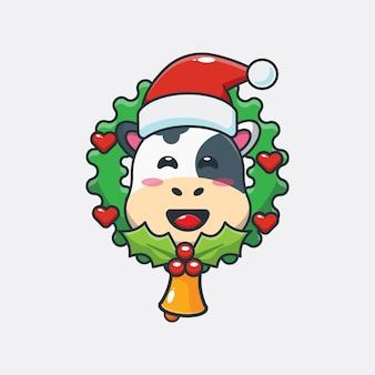 Śliczna krowa w boże narodzenie śliczna świąteczna ilustracja kreskówka