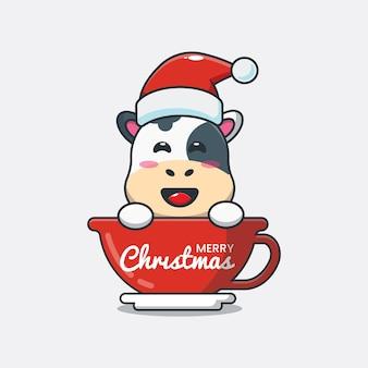 Śliczna krowa w kapeluszu santa w filiżance śliczna świąteczna ilustracja kreskówka
