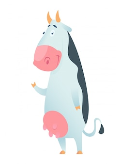 Śliczna krowa w mieszkanie stylu odizolowywającym. ilustracji wektorowych. kreskówka krowa.
