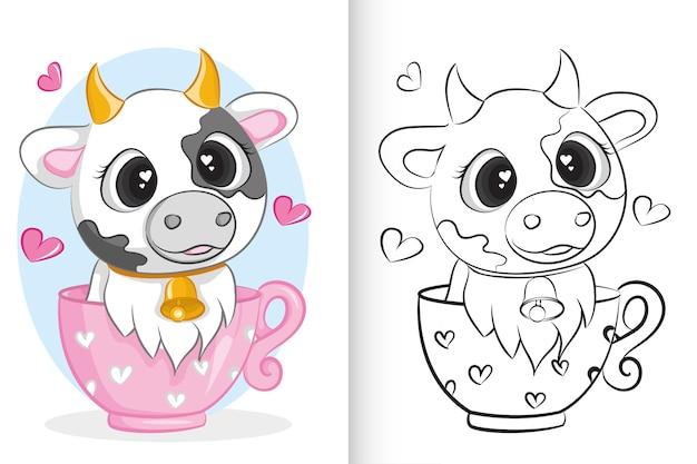 Śliczna krowa w różowej filiżance. kolorowanka dla dzieci w wieku przedszkolnym.