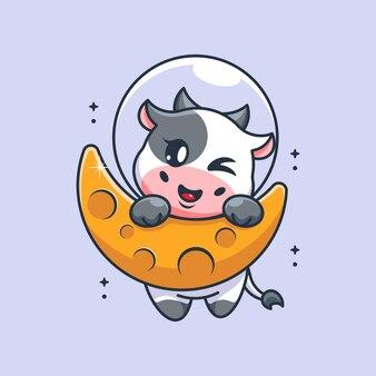 Śliczna krowa wisząca na kreskówce księżyca