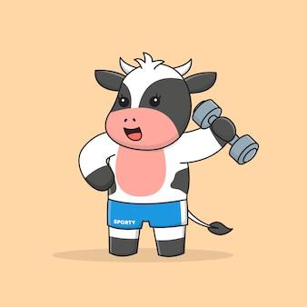 Śliczna krowa z hantlami