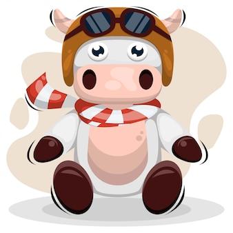 Śliczna krowa z hełm maskotki kreskówką