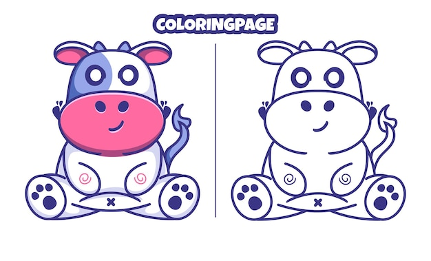 Śliczna krowa z kolorowanką