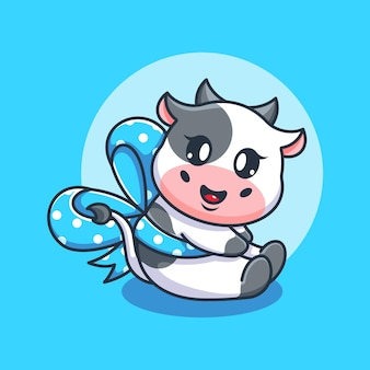 Śliczna krowa z kreskówką wstążkową