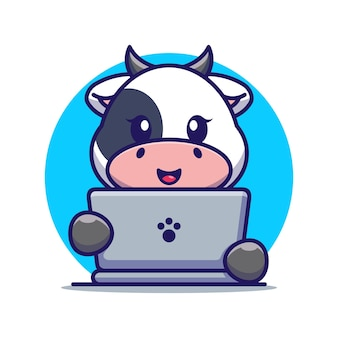 Śliczna krowa z laptopem kreskówki