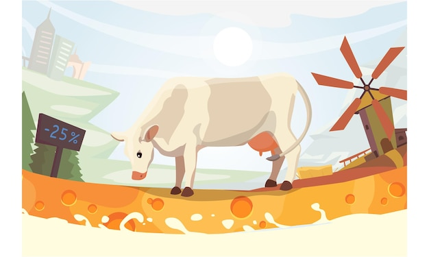 Śliczna krowa z mleczną rzeką ilustracją. kolorowy krajobraz fith farm. kreskówka ssak zwierzę