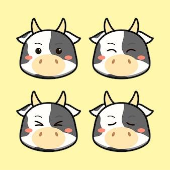 Śliczna krowa z zestawem zwierząt wyraz twarzy