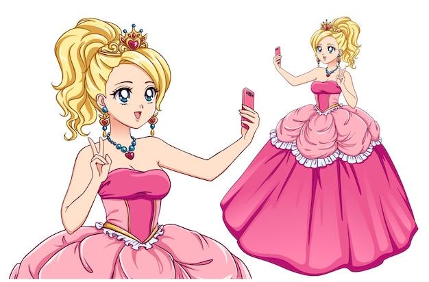 Śliczna księżniczka anime bierze selfie. blondie dziewczyna ubrana w różową królewską sukienkę i złotą koronę.