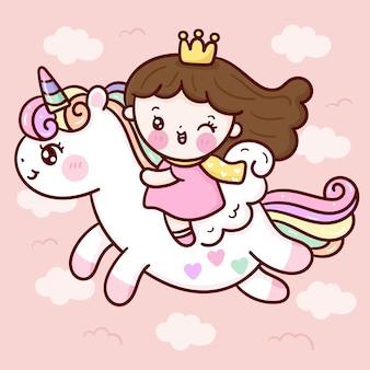 Śliczna księżniczka kreskówka jeździ jednorożca pegaza na niebie